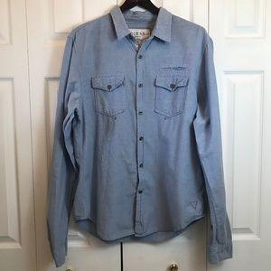 VTG Guess Mens Denim Button Down Shirt sz XL